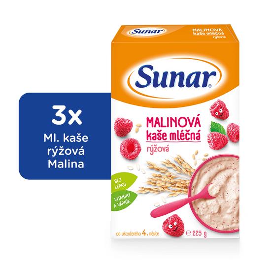 Sunar malinová kašička mléčná (3x225g)