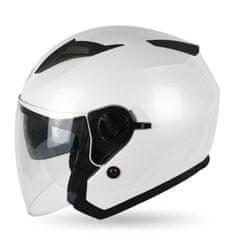 MAXX OF 868 Skútrová helma otevřená s plexi a sluneční clonou - bílá Velikost: XS