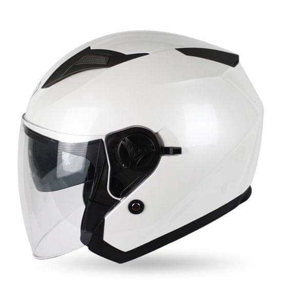 MAXX OF 868 Skútrová helma otevřená s plexi a sluneční clonou - bílá