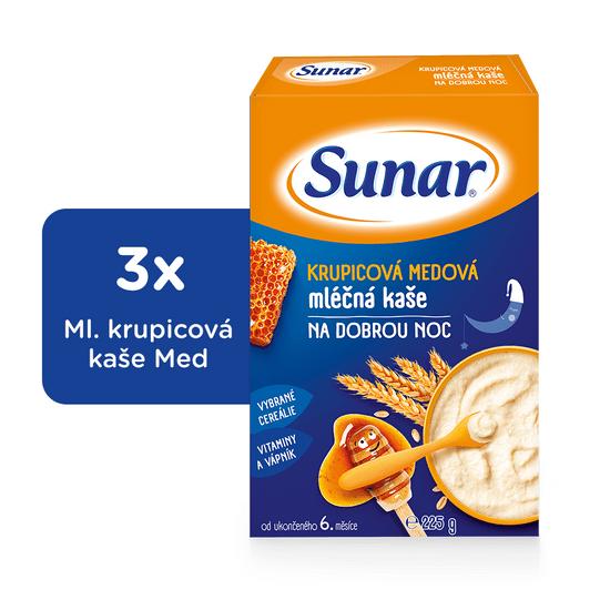 Sunar krupicová medová kaše na dobrou noc mléčná (3x225g)