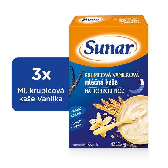 Sunar krupicová vanilková kaše na dobrou noc mléčná (3x225g)