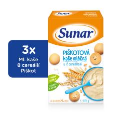Sunar piškótová kaša mliečna (3x225g)