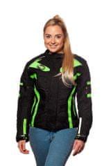 MAXX NF 2400 Dámská textilní bunda černozelená reflexní Velikost: L