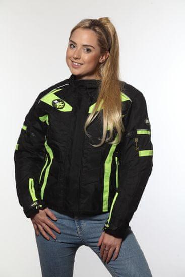 MAXX NF 2400 Dámská textilní bunda černozelená reflexní