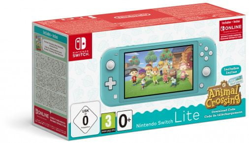 Nintendo Switch Lite, tyrkysová + Animal Crossing: New Horizons (NSH130) - rozbaleno