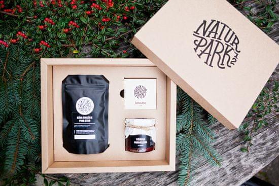 Naturpark 12 Dárkový balíček s višňovou marmeládou, čokoládou s chilli a zrnkovou kávou