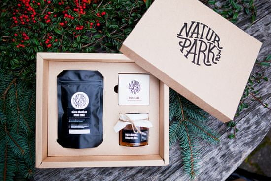 Naturpark 12 Dárkový balíček se sezónní marmeládou, čokoládou s ovocem a zrnkovou kávou