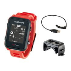 Sigma iD.TRI Basic multisportovní hodinky - neon červená