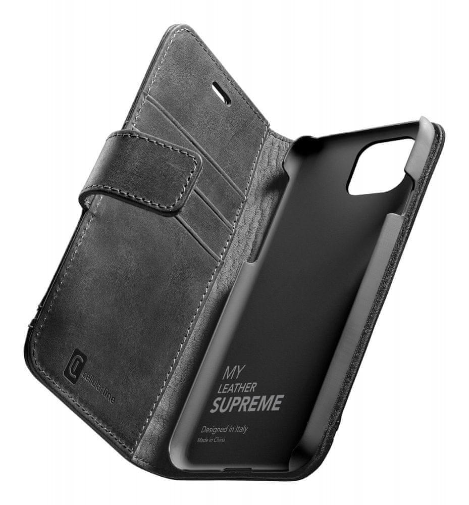 CellularLine Prémiové kožené pouzdro typu kniha Supreme pro Apple iPhone 12 mini SUPREMECIPH12K, černé