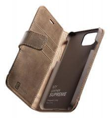 CellularLine Prémiové kožené pouzdro typu kniha Supreme pro Apple iPhone 12 mini SUPREMECIPH12N, hnědé