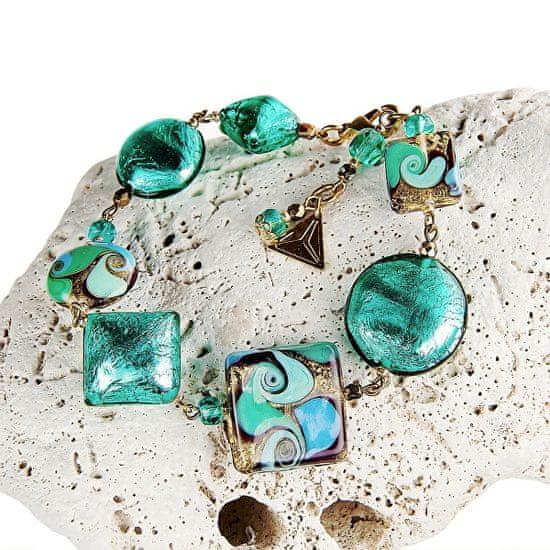 Lampglas Eleganckibransoletka Emerald Princess z 24-karatowym złotem i srebrem w perłach Lampglas