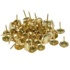 Kraftika Dekorační čalounické hřebíky, zlatá barva, 16 x 11 mm