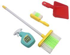 Teddies otroški komplet za čiščenje z metlo in smetišnico, 5-delni