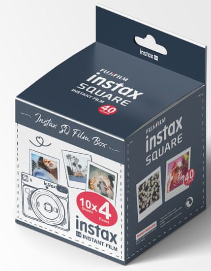 FujiFilm Instax Square Film WW 4×10 (40 ks) čierna