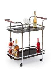 Halmar Bar-7 servírovací stolík na kolieskach čierna / chróm