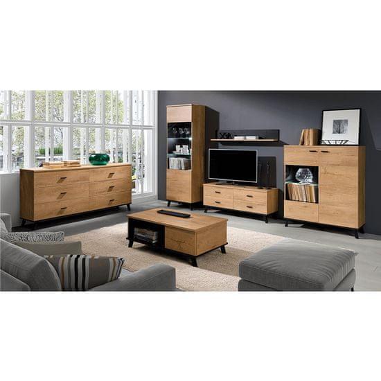 KONDELA Siran Typ 7 tv stolík dub lefkas / čierna