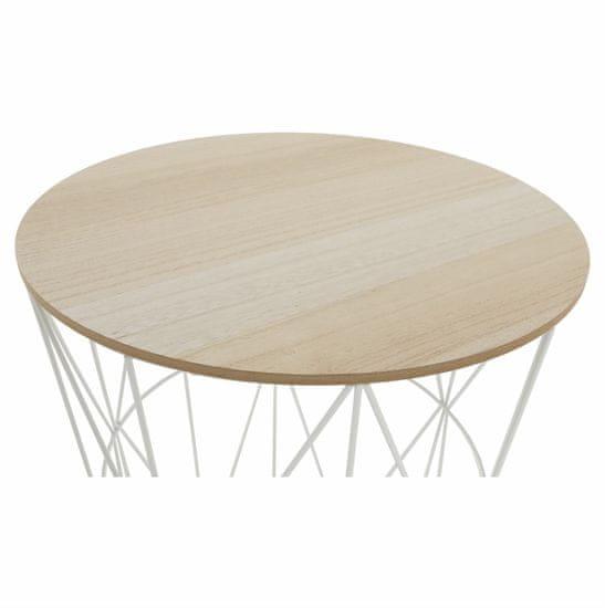 KONDELA Nancer Typ 3 okrúhly príručný stolík prírodná / biela