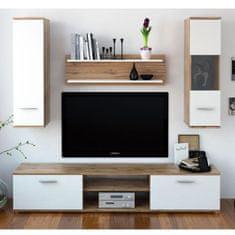 KONDELA Waw New obývacia stena dub wotan / biela