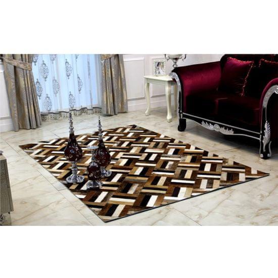KONDELA Typ 2 kožený koberec 70x140 cm vzor patchwork