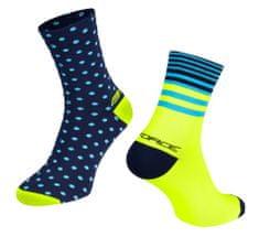 Force Cyklistické ponožky Spot - modro-fluo žluté, S-M