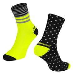 Force Cyklistické ponožky Spot - černo-fluo žluté, L-XL