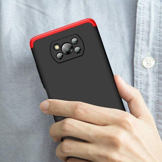 GKK 360 Full Body műanyag tok Xiaomi Poco X3 NFC, fekete/piros