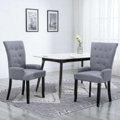 shumee Jedilni stol z naslonjali za roke svetlo sivo blago