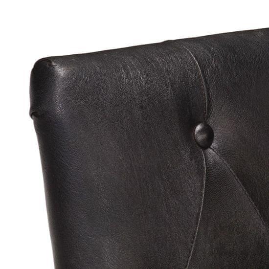 shumee Krzesła stołowe, 6 szt., czarne, naturalna kozia skóra