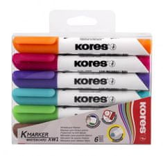 Kores K-MARKER Popisovač na bílé tabule, kulatý hrot 3 mm, mix 6 barev