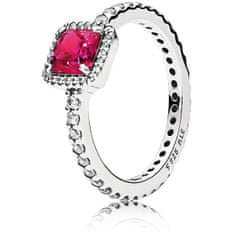 Pandora Třpytivý stříbrný prsten s červeným krystalem 190947SRU (Obvod 56 mm) stříbro 925/1000