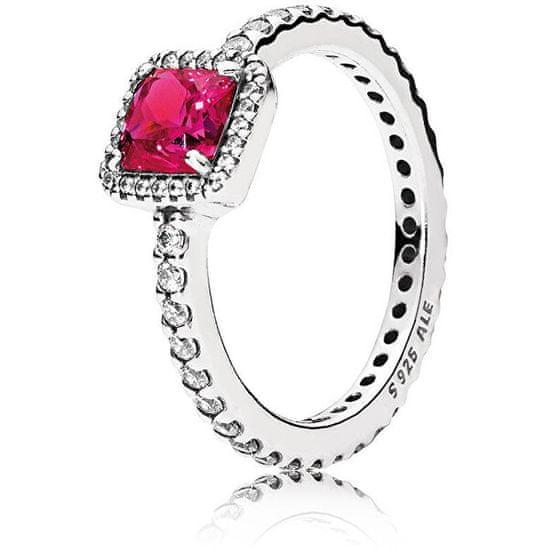 Pandora Třpytivý stříbrný prsten s červeným krystalem 190947SRU stříbro 925/1000