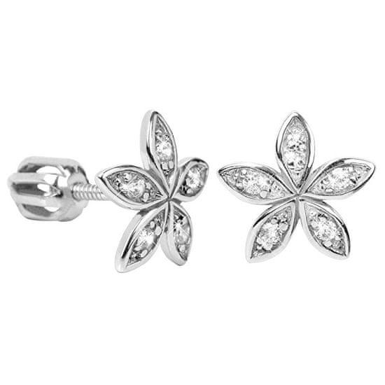 Brilio Silver Uhani za rože s kristali 436 001 00438 04