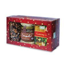 Fytopharma Darčeková kazeta Vianočné čaju sypaný 100 g + porciovaný 20 x 2 g + pastovaný med so škoricou 250 g