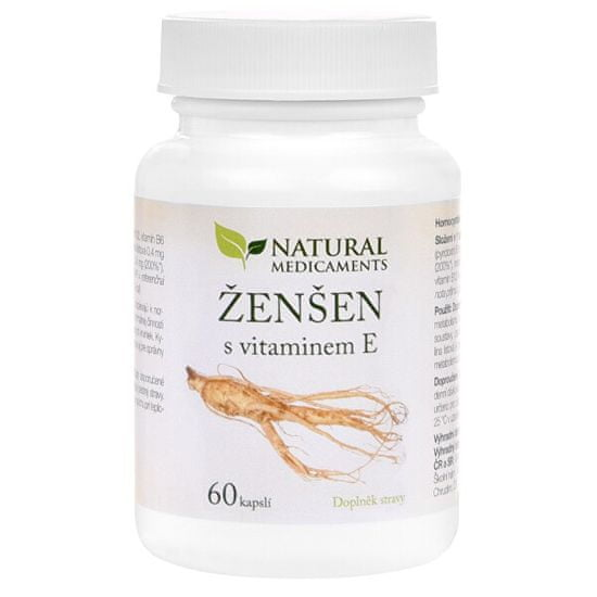 Natural Medicaments Ženšen + vitamín E 60 kapslí