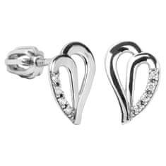 Brilio Silver Stříbrné náušnice srdce s krystaly 436 001 00387 04