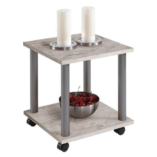 shumee Stranska miza za slinavko in parkljevko z vrtljivimi kolesi, hrast iz peska