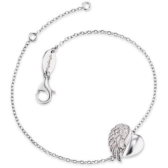 Engelsrufer Stříbrný náramek Srdce s andělským křídlem a zirkony ERB-LILHEARTWIN