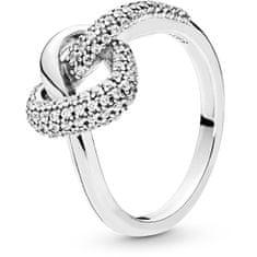 Pandora Stříbrný prsten Propletené srdce 198086CZ (Obvod 48 mm) stříbro 925/1000
