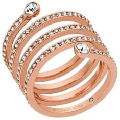 Michael Kors Pozlacený ocelový prsten s krystaly MKJ4724791 (Obvod 54 mm)