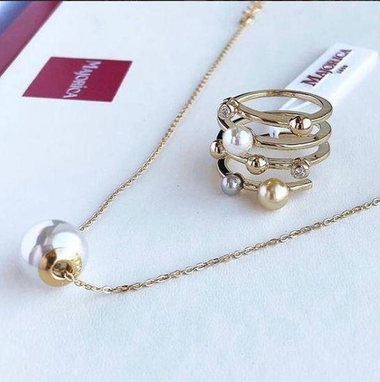 Majorica Spirálový pozlacený prsten s perlami 10554.34.1.911.010.1 stříbro 925/1000