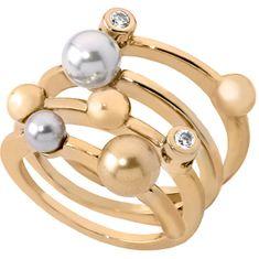 Spirálový pozlacený prsten s perlami 10554.34.1.911.010.1 (Obvod 57 mm) stříbro 925/1000