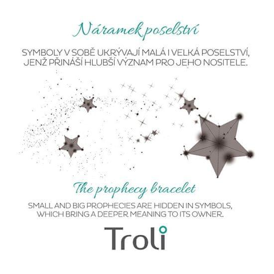 Troli Šňůrkový bransoletka z piórkiem niebieski / złoty