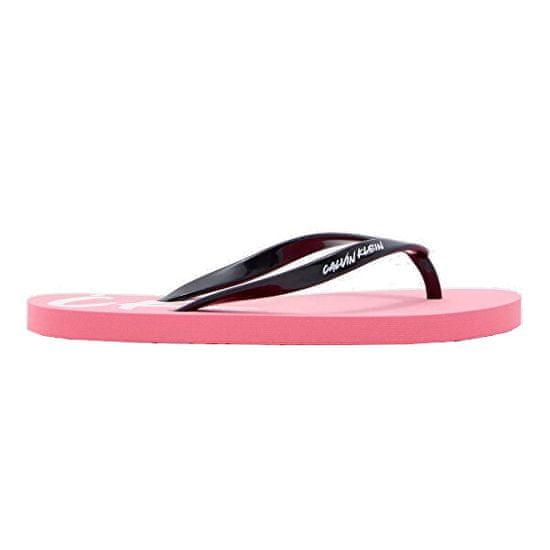 Calvin Klein Dámske žabky Ff Sandals KW0KW01027-0J6 Neon Coral Pink