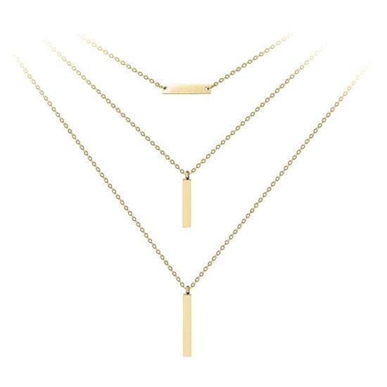 Troli Pozlátený trojitý oceľový náhrdelník
