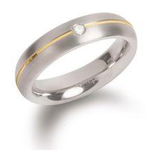 Boccia Titanium Poročni prstan iz titana z diamantom 0130-06 (Obseg 52 mm)