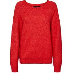 Vero Moda Ženski pulover VMBLAKELY IVA LS O-NECK RIB BLOUSE BOO High Risk Red Melange (velikost L)