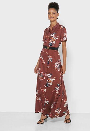 Vero Moda Ženska obleka VMLOVELY 10237257 Sable FLOWERS
