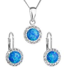 Evolution Group Błyszczący zestaw biżuterii 39160.1 i niebieski s.opal ( Kolczyki, Łańcuch, wisiorek ) srebro 925/1000