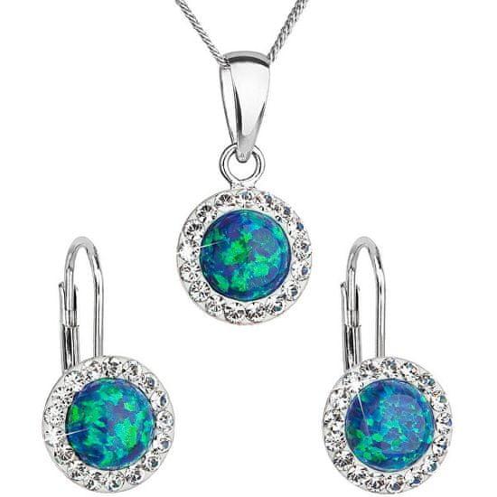 Evolution Group Csillogó ékszerszett Preciosa kristállyal 39160.1 & green s.opal (fülbevaló, nyaklánc, medál)