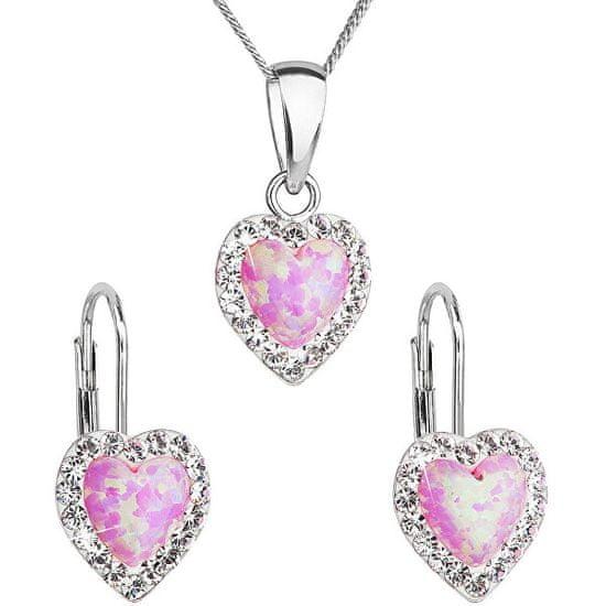 Evolution Group Srdíčková souprava šperků 39161.1 & light rose s.opal (náušnice, řetízek, přívěsek) stříbro 925/1000